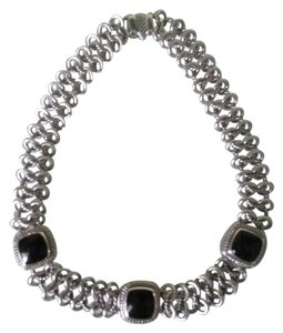 David Yurman DAVID YURMAN Sterling Silver 17mm Faceted ONYX/Diamond Necklace