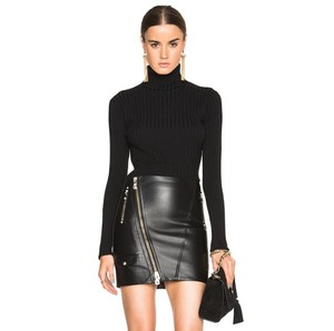 Versus Versace Leather Silver Zippers Mini Skirt Black
