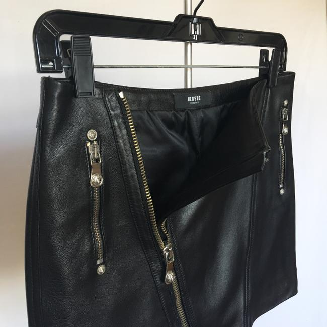 Versus Versace Leather Silver Zippers Mini Skirt Black Image 1