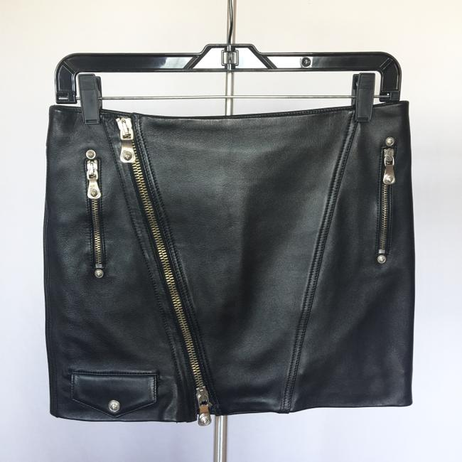 Versus Versace Leather Silver Zippers Mini Skirt Black Image 5