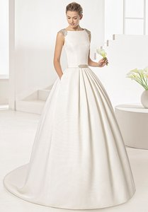 Rosa Clará Natural Mikado Two By Style Orgul Traditional Wedding Dress Size 10 M