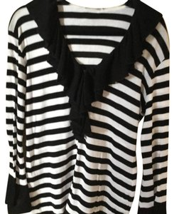 404c0c5c47218 Anne Fontaine Black and White Stripe Knit Ruffle St Tropez Blouse ...