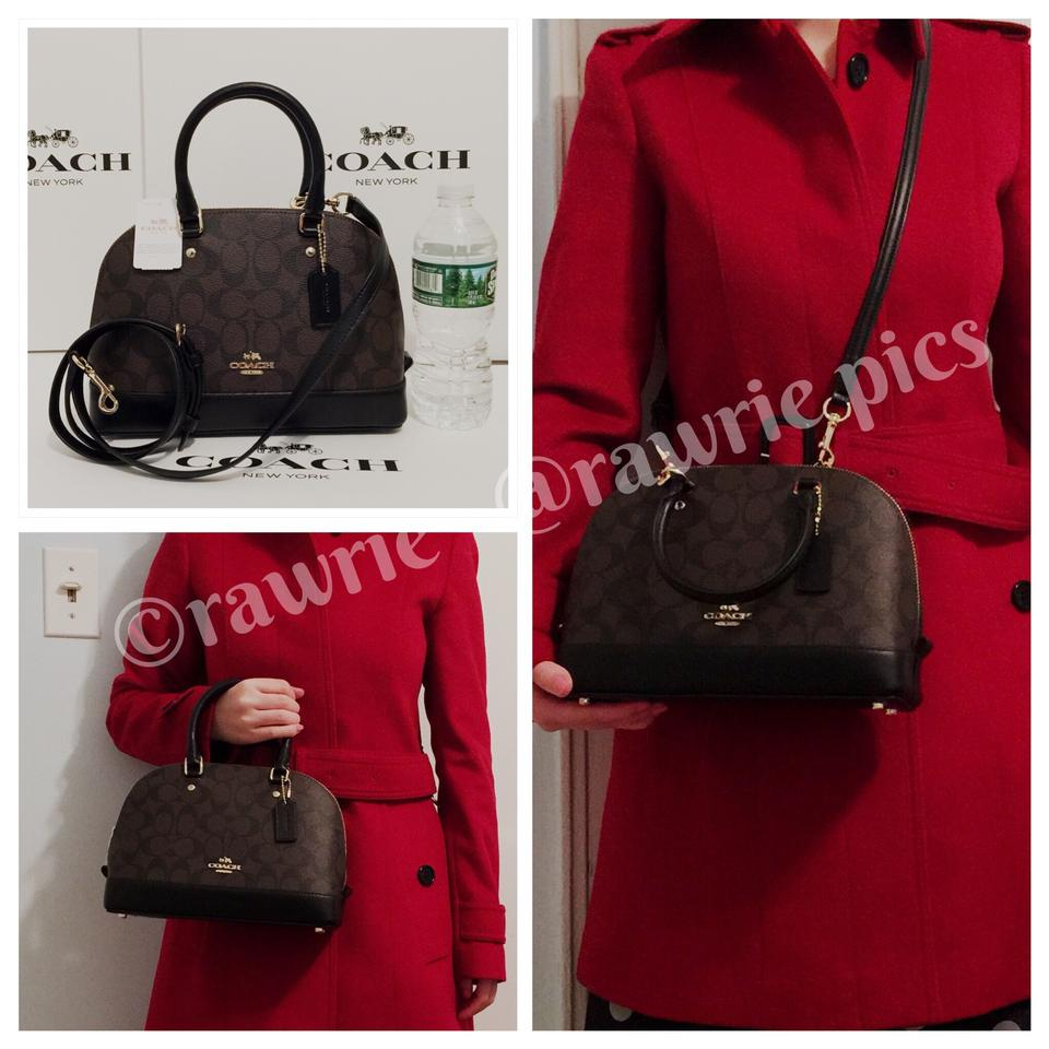 bde8ad1bd4610 ... sweden coach sierra signature brown mini domed satchel black leather  cross f28ee 39ab2