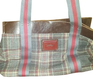 Tommy Hilfiger Satchel in Gray, brown, and red