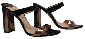 Miu Miu Leather Heel Black/Pewter Sandals