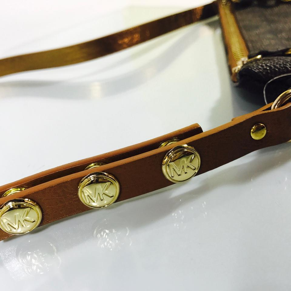 b2a6b94a2922 MICHAEL Michael Kors Mk Signature Belt with Pull Chain Xs Brown Gold ...