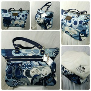 Coach Poppy Limited Edition Denim Blue Tote Bag Tote in Blue and White