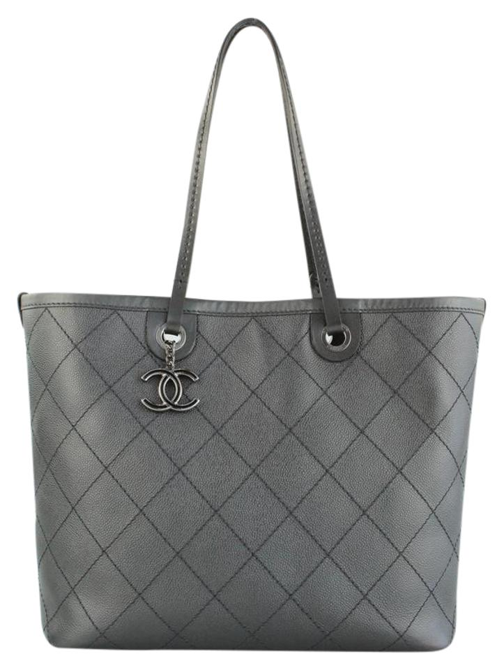 b94ff3c53297 Chanel Shopping Fever Metallic Charcoal Leather Tote - Tradesy
