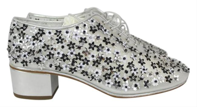 Chanel Silver Mesh Sequin Flower Lace Up Runway Wedges Size EU 37 (Approx. US 7) Regular (M, B) Chanel Silver Mesh Sequin Flower Lace Up Runway Wedges Size EU 37 (Approx. US 7) Regular (M, B) Image 1