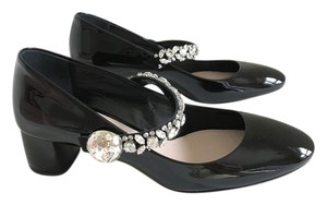 Miu Miu Crystal Mary Jane Black Pumps