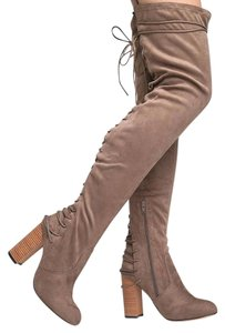 78425717319 J. Adams Lace Up Knee High Round Taupe Suede Boots