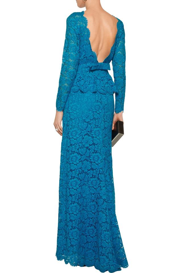 Valentino Azure Open-back Cotton-blend Corded Lace Gown It44 Long ...