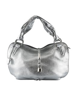 Cline Leather Satchel in Silver