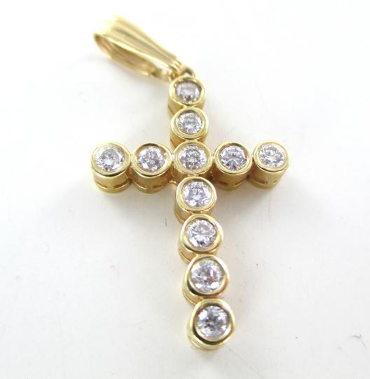 Other 14KT SOLID YELLOW GOLD CROSS 11 DIAMONDS .65 CARAT 2.6 GRAMS EASTER RELIGIOUS Image 3