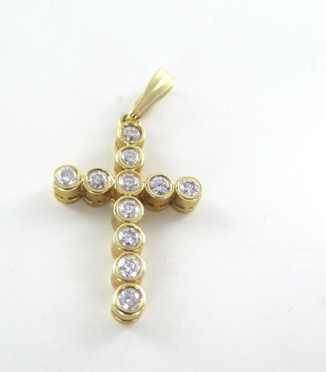 Other 14KT SOLID YELLOW GOLD CROSS 11 DIAMONDS .65 CARAT 2.6 GRAMS EASTER RELIGIOUS Image 9