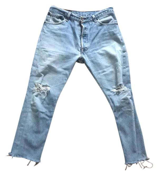 Item - Denim Distressed Cropped Relaxed Fit Jeans Size 26 (2, XS)