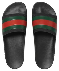 Gucci Pursuit Slides Flip Flops Black with Red & Green Web Stripe Sandals