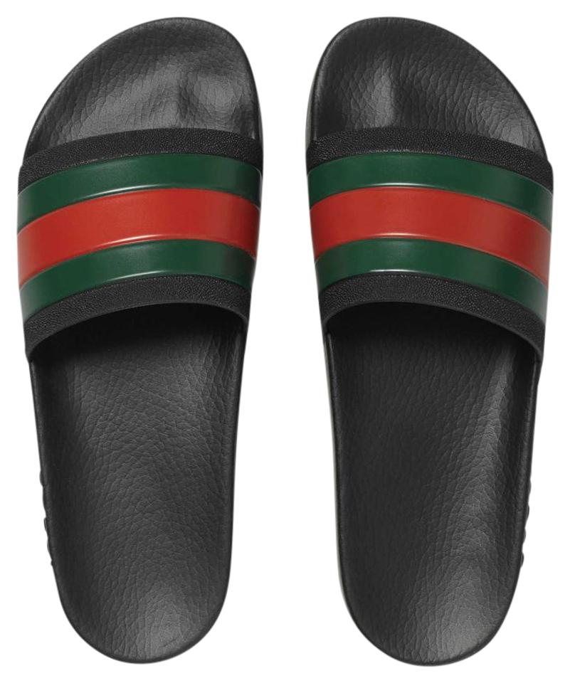e18a36d2fba Gucci Black with Red   Green Web Stripe Pursuit 72 Pool Flip Flops Sandals.  Size  US ...
