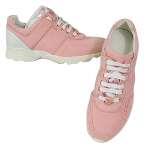 """Chanel Sneakers Size 37 Gold """"Cc"""" Logo White Leather Canvas pink Athletic"""