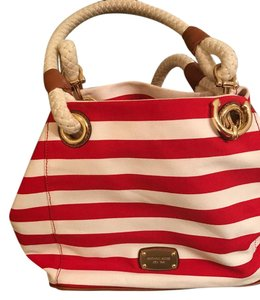 Michael Kors red and white Beach Bag