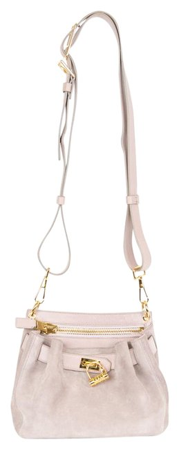 Item - Lock-front Mauve Suede Leather Cross Body Bag