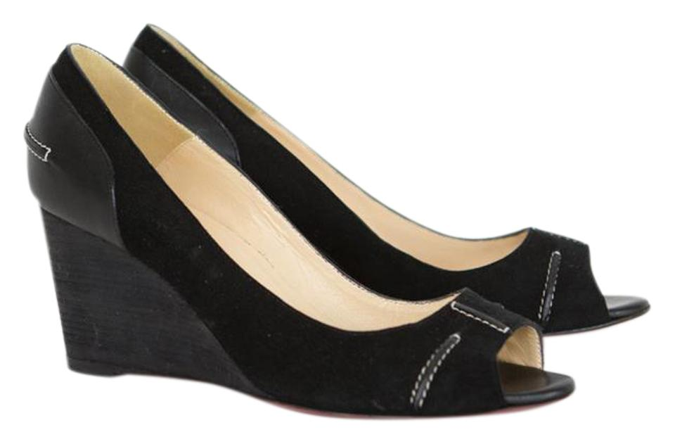 the latest 7a378 43392 Black Suede Peep Toe Wedges