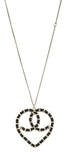 Chanel Chanel Black & Goldtone CC Heart Necklace