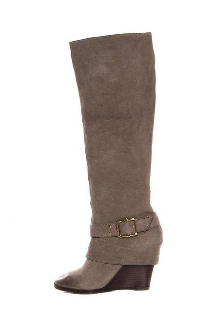 Item - Grey Suede with Gold Tone Buckle Boots/Booties Size US 6 Regular (M, B)