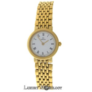 Omega Authentic Ladies Omega Deville 18K Yellow Gold Plated SS 22MM Quartz