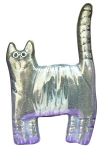 Unknown Embossed and Polished Pewter Cat Pin