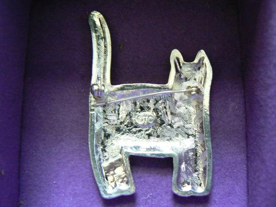 Unknown Embossed and Polished Pewter Cat Pin Image 1