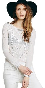 Free People Black Metal Ivory Stunning Beading Stand-out Top
