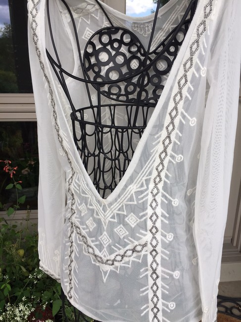 Free People Black Metal Stunning Beading Stand-out New Without Tags Top WHITE