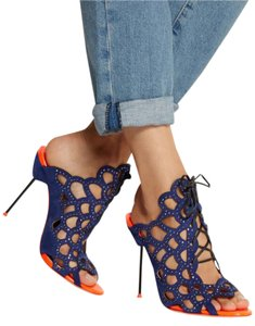 Sophia Webster Bohemian Studded Suede Lace Up Navy and Orange Mules