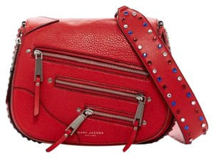 Marc Jacobs Studded Leather Saddle Crossbody Iconic Red Shoulder Bag
