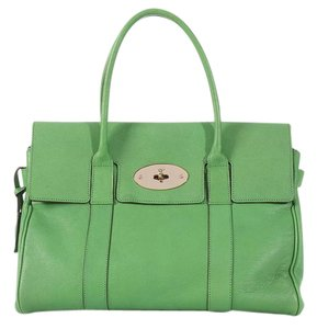 a8c05ac8a3e2 Mulberry Ml.l0612.03 Leather Brass Flap Satchel in Green