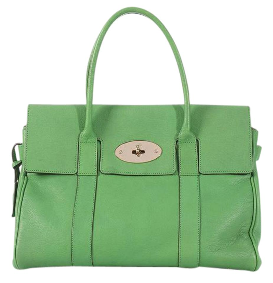 6a106465090b Mulberry Ml.l0612.03 Leather Brass Flap Satchel in Green Image 0 ...