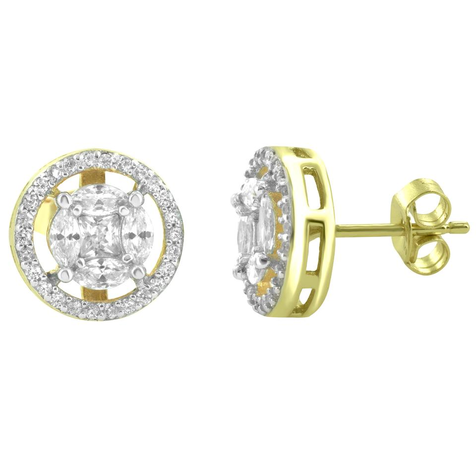 Master Of Bling Sterling Silver Solitaires Cer Round Earrings 14k Gold Finish 925
