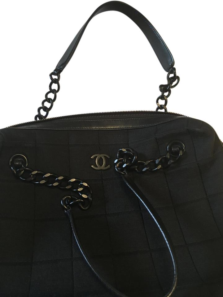12c60a4e3a Chanel Vintage Jeresy Chain Quilted Tote in Black Image 0 ...