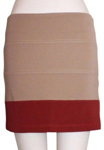 Willow & Clay Color-blocking Stretchy Mini Pencil Sample Mini Skirt BEIGE RED