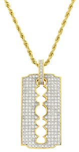 Master Of Bling Designer Men's Razor Blade Pendant 18k Gold Finish Rope Necklace 24 In