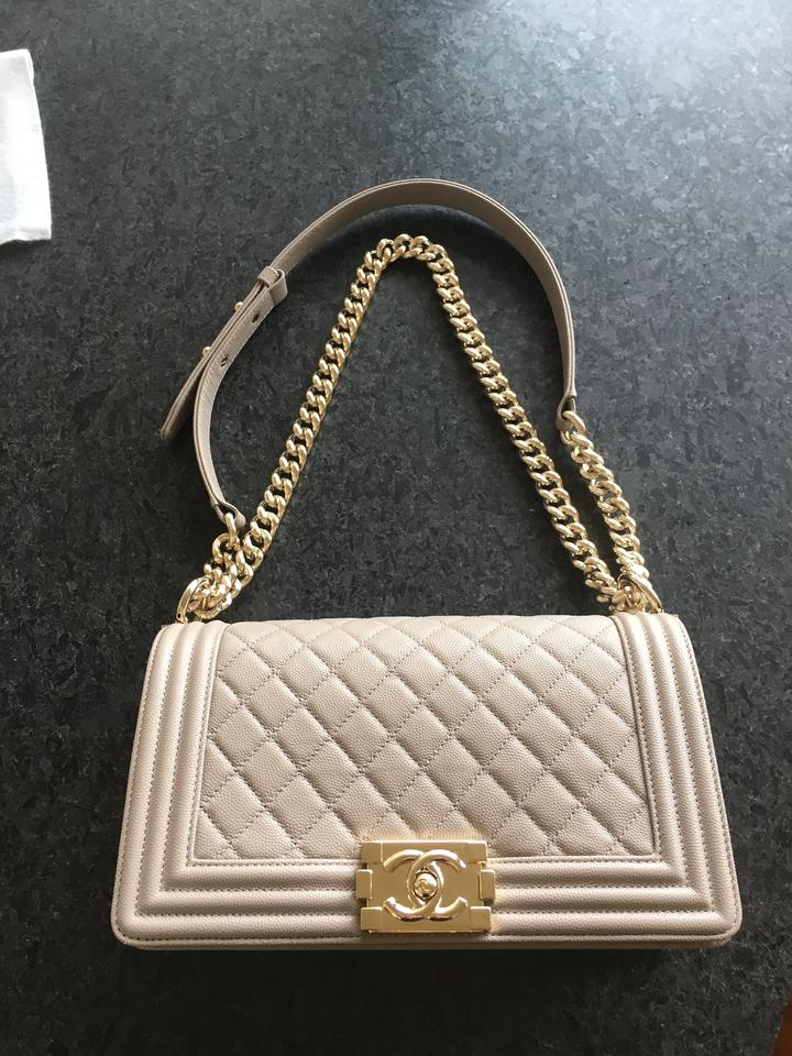 3d2cdac0303393 Chanel Boy Le Dark with Light Gold Hardware Beige Caviar Leather Shoulder  Bag - Tradesy