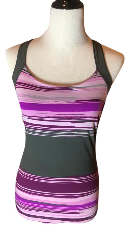 9e8c139f606 Alo Charcoal Purple Pink Cool Fit Crossback Yoga Bra Activewear Top ...