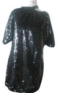 Sequin Hearts Sequence Blouse Party Dres Designer Top black