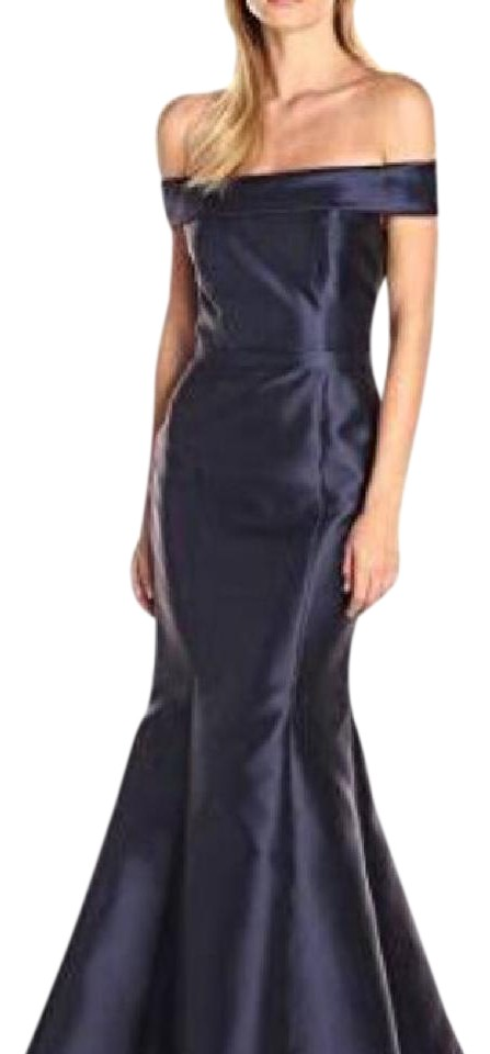 Xscape Navy Blue Off The Shoulder Mermaid Long Formal Dress Size 8 ...