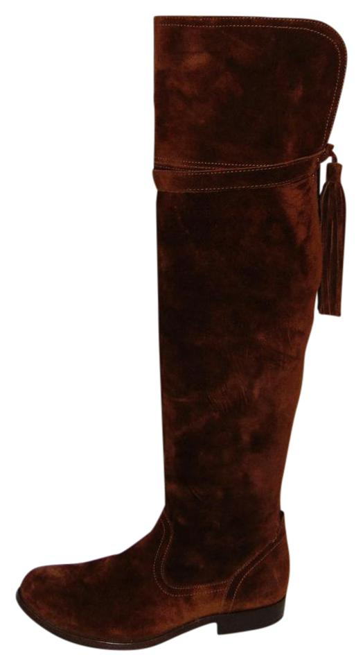 Frye Brown Knee Suede Over The Knee Brown Molly Tassel Boots/Booties d0fcbd