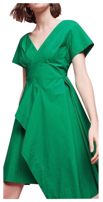 Item - Kelly Green Seamed Poplin By Maeve Mid-length Cocktail Dress Size 6 (S)