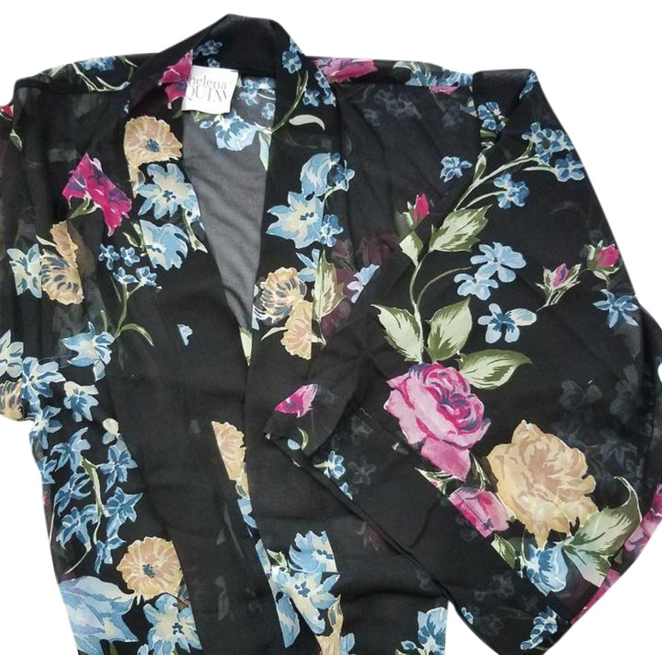 Black Floral With Rachel Zoe Kimono Cardigan Size OS (one size ...