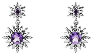 David Yurman David Yurman silver Starburst double drop amethyst earrings