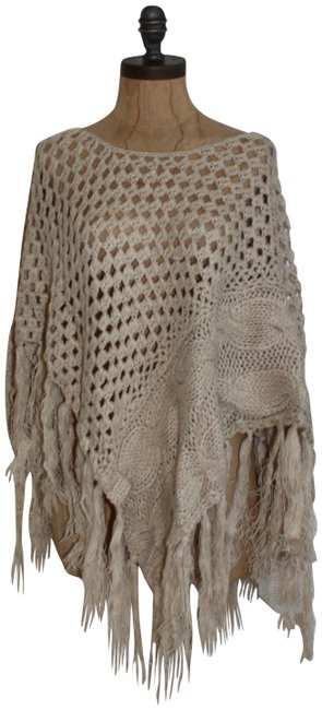 Item - Beige Willow Clay Angled Open Knit Fringe Poncho/Cape Size 6 (S)